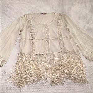 Calypso st Barth linen top with fringe